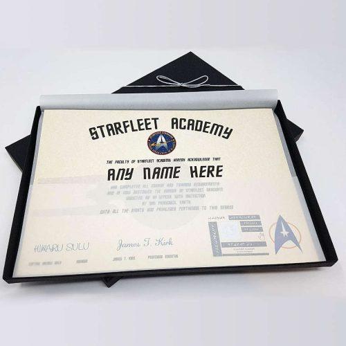 personalisiertes Offizierspatent der Starfleet Academy