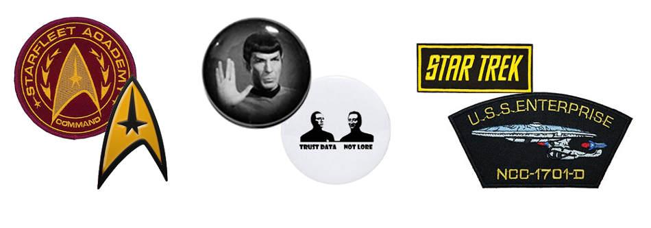 Star Trek Buttons, Aufkleber und Patches