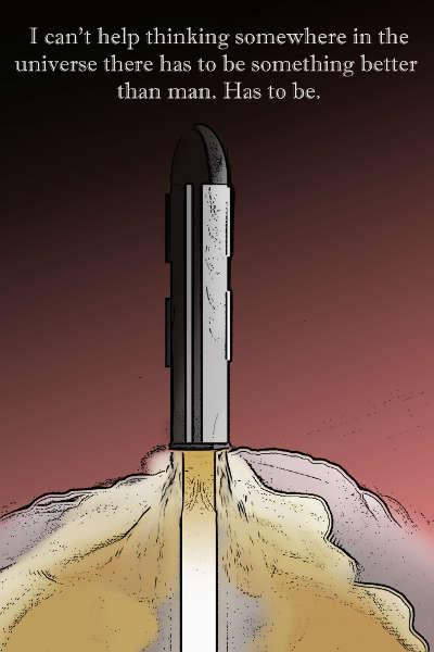 Rocket Space Retro Poster