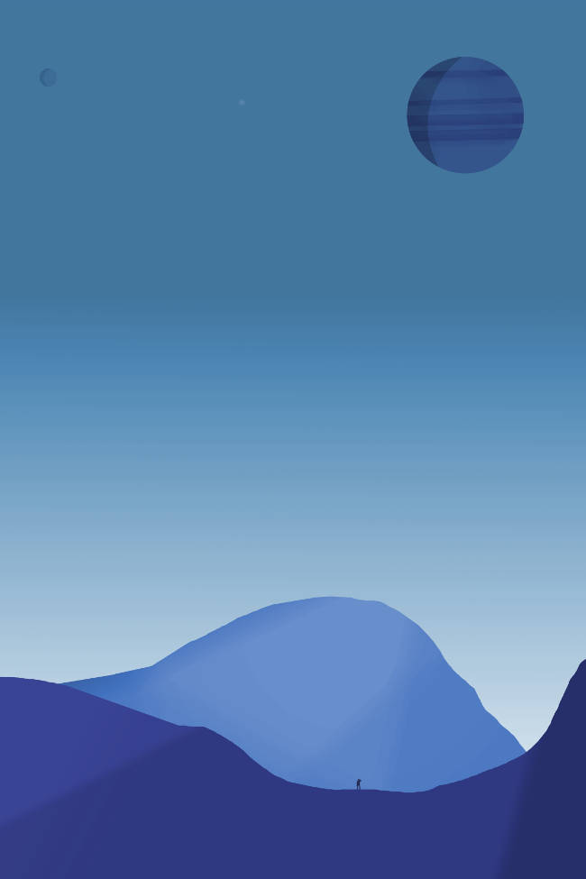 space art blue planet clean poster